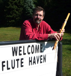 Welcome sign at the retreat center, Flute Haven 2014
